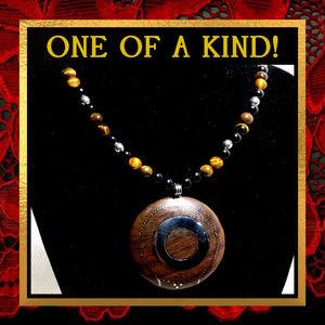 Tigereye Gemstone & Wood Necklace #571
